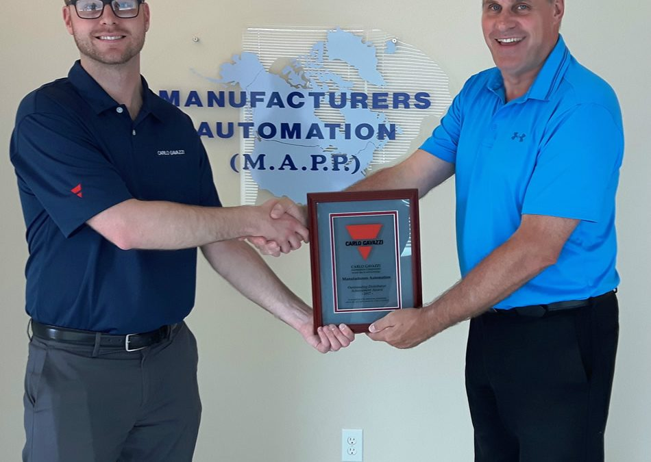 """Carlo Gavazzi Awards Manufacturers Automation Inc. the """"Outstanding Distributor Achievement Award for 2017"""""""